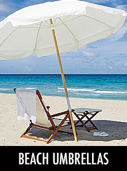 Sunbrella® Wood Beach Umbrellas